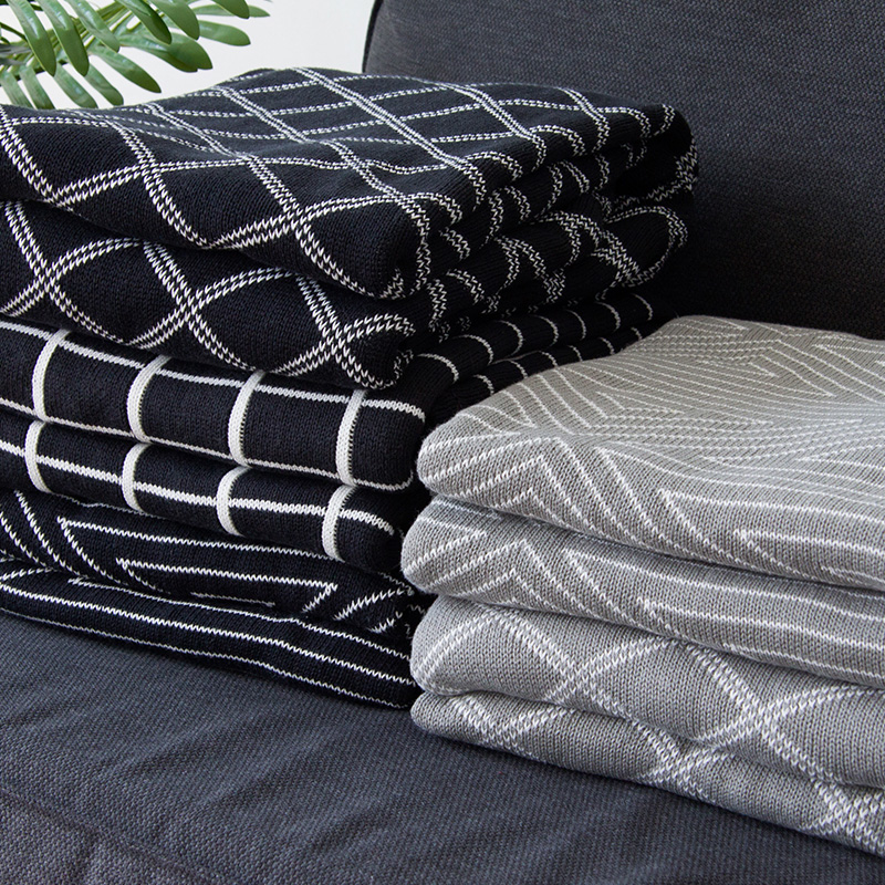 Us 79 99 Collalily Nordic 100 Cotton Sofa Throw Blanket Modern Geometric Striped Plaid Grey Bedding Bed Soft Rug Home Black White In Blankets