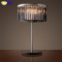 Фумат краткое творчески k9 кристалл настольная лампа home деко Металл лампа для Гостиная прикроватный Лофт кристалл настольные лампы