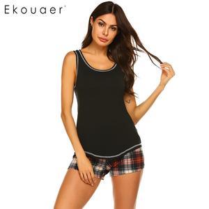 Image 3 - Ekouaer femmes vêtements de nuit dété pyjamas ensemble vêtements de nuit sexy o cou sans manches débardeur Plaid Shorts lâche salon Pyjama costume