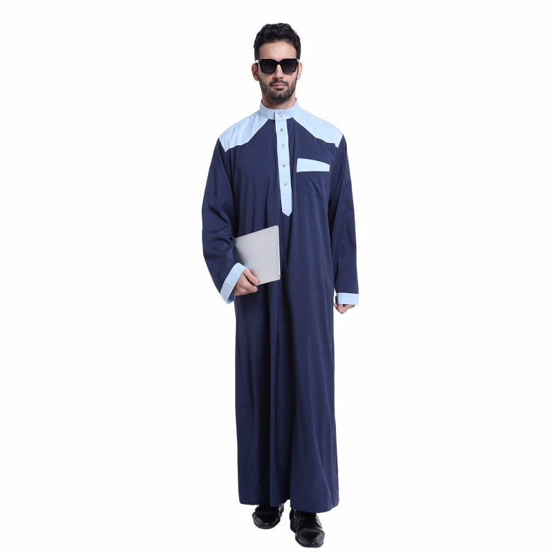 2017 New Arrival muslim clothing for men thobe Polyester/cotton mens kaftan Stand collar Stitching men's robe Ramadan