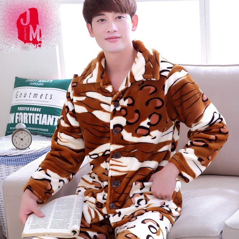 Sleep Coral Fleece Winter Men Pajama Sets Warm Full Thick Men Sleepwear Suits Flannel Autumn Pijama Print Pyjama Male XXXL XXXXL