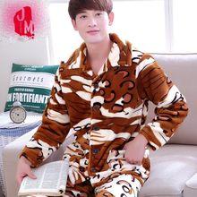 d357925c44c34 Сна из кораллового флиса Зимняя Для мужчин пижамные комплекты теплые длинные  толстые Для мужчин пижамы костюмы фланель осень Пиж..