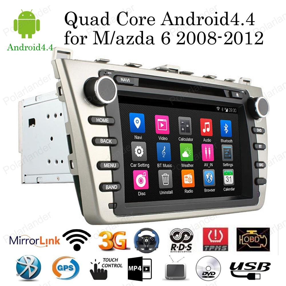 for Mazda 6 2008 2012 Android 4 4 8 Car DVD Player Quad Core Radio support