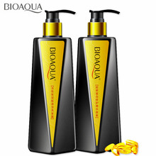 BIOAQUA Activated Carbon Hair Shampoo And Collagen Hair Conditioner Set Deep Cleaning Repair Damaged Professional Hair Care Set organix ogx blue bottle morocco oil shampoo hair conditioner repair damaged hair enhancement in the united states 385g x2bottle