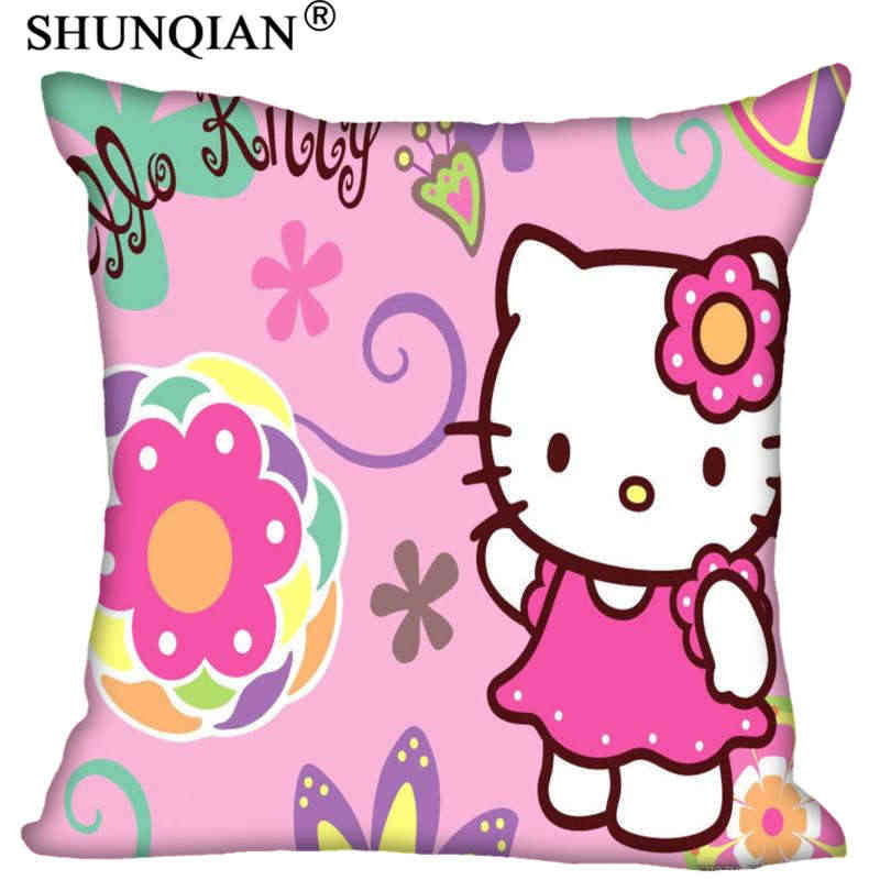 Nieuwe Hot Custom kitty Kat Vierkante Kussenslopen rits Mode Custom Kussensloop Kussensloop Decoratieve Pillowcas