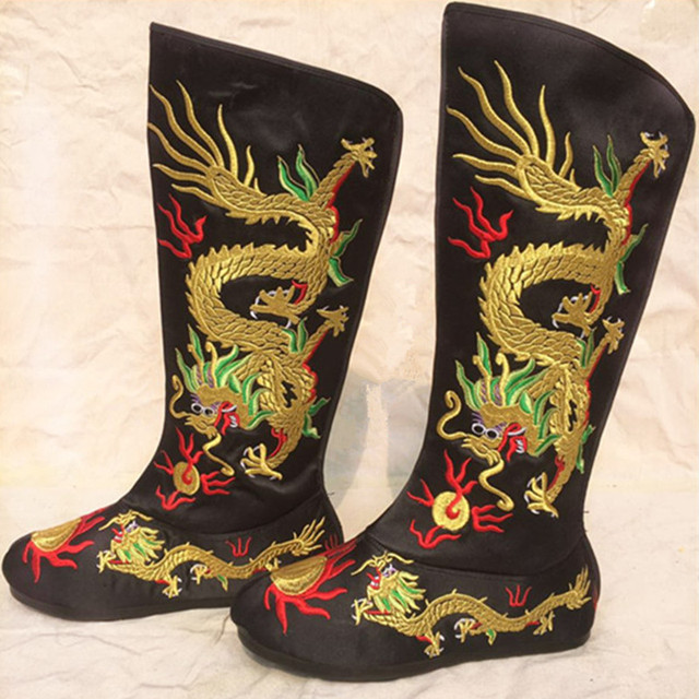 ancient chinese emperor boots embroidered dragon shoes dragon boots ancient chinese  shoes halloween cosplay 91103c4a348f