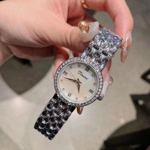 Senhora do Escritório de Moda Relógio de Pulso de Aço Simples Elegante Pulseira Relógios Shell Natural Cristais Meninas Estudantes Inoxidável Relógio 3bar