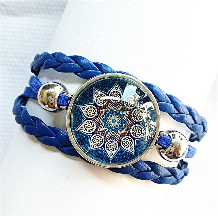 1pc 2018 (6 styles can be choose)red blue Bandanna charm Bracelet Mandala Flower Buddhism zen Glass Cabochon bangle hand chain