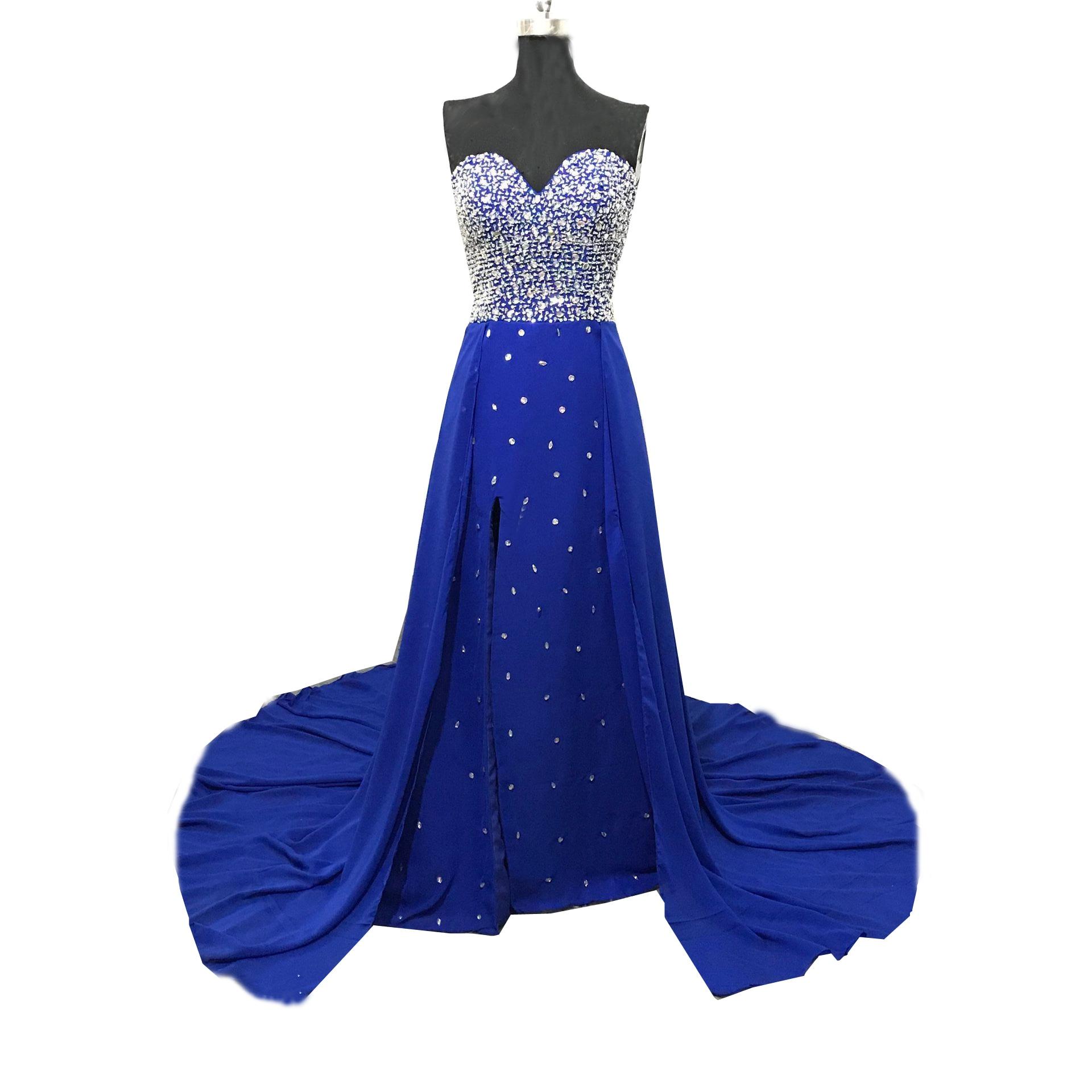 Mousseline de soie perlée cristal Swarovski cristaux cuisse-haute fente robe chérie perlée fermeture éclair bleu Royal