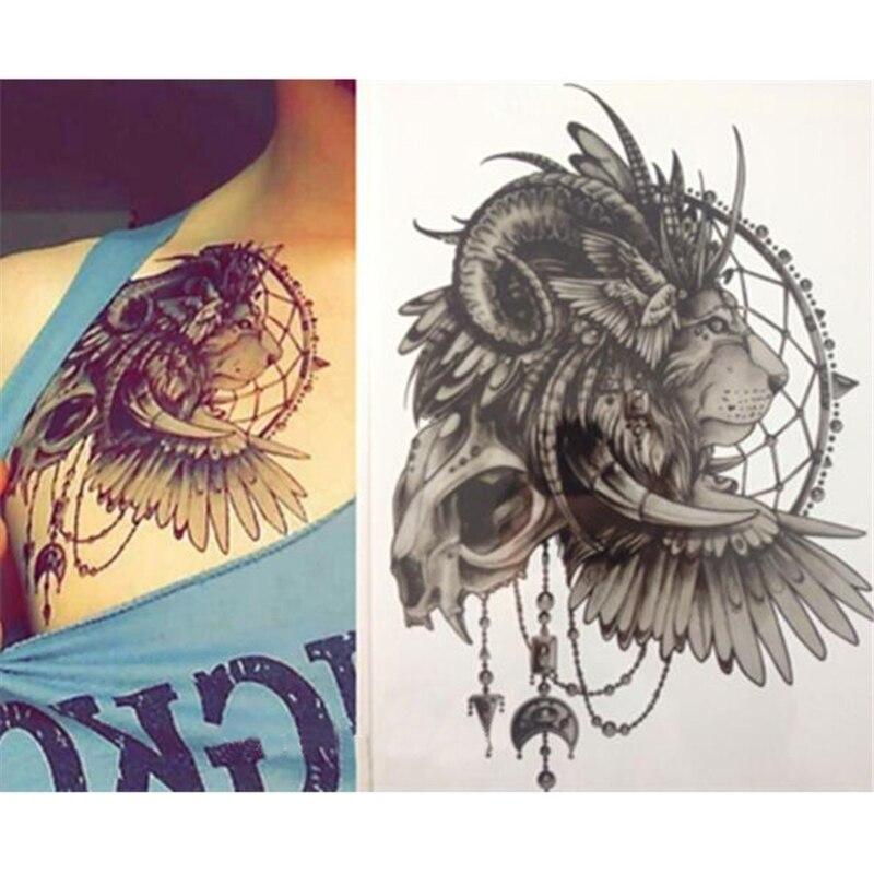 Us 124 Wodoodporna Tymczasowa Naklejka Tatuaż Głowa Lwa Z Dream Catcher Dreamcatcher Tatuaż Flash Tatuaż Fałszywe Tatuaże Dla Kobiet Mężczyzn W