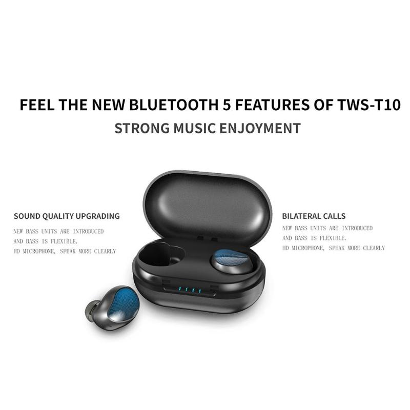 US $32 76 30% OFF|TWS T10 Wireless Earbuds V5 0 Bluetooth Earphone Deep  Bass Stereo Sound Noise Reduction with Charging Box for iPhone Sanmsun-in