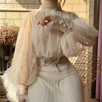 2018 New Fashion Spring Women S Sweet Beads Bubble Lantern Sleeve Pearl Button Gauze Blouses Shirt