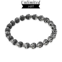 Skull Strand Bracelets Black Cubic Zirconia Karma Beads Bracelets for Men and Women Skeleton Silver Fashion Jewelry Gift