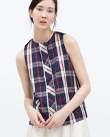 2015 Ref 7901/004ล่าสุดZAแท้ผ้าฝ้ายคอกลมแขนกุดเสื้อกั๊ก