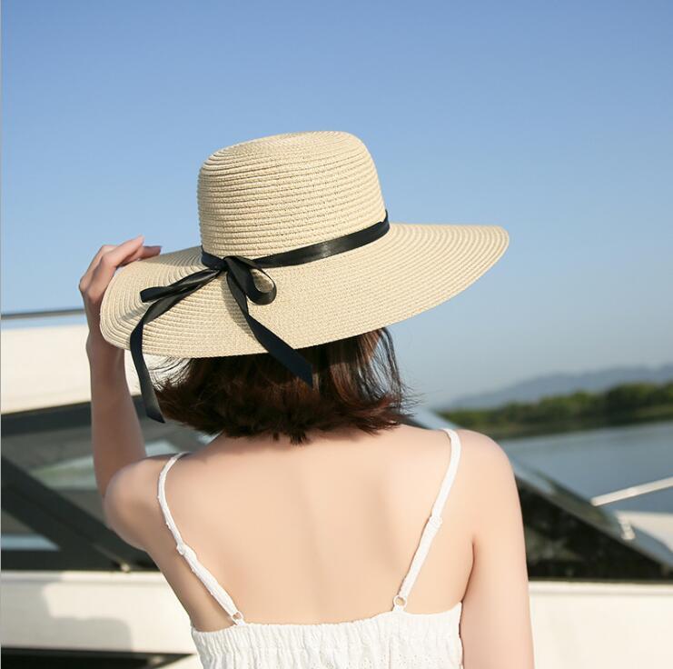 5ebbb646 Summer Hats For Women Chapeau Femme Sun Hat Beach Panama Straw Hat Large  Wide Brim Black Ribbon Bow Visor Bone Female Cap-in Sun Hats from Apparel  ...