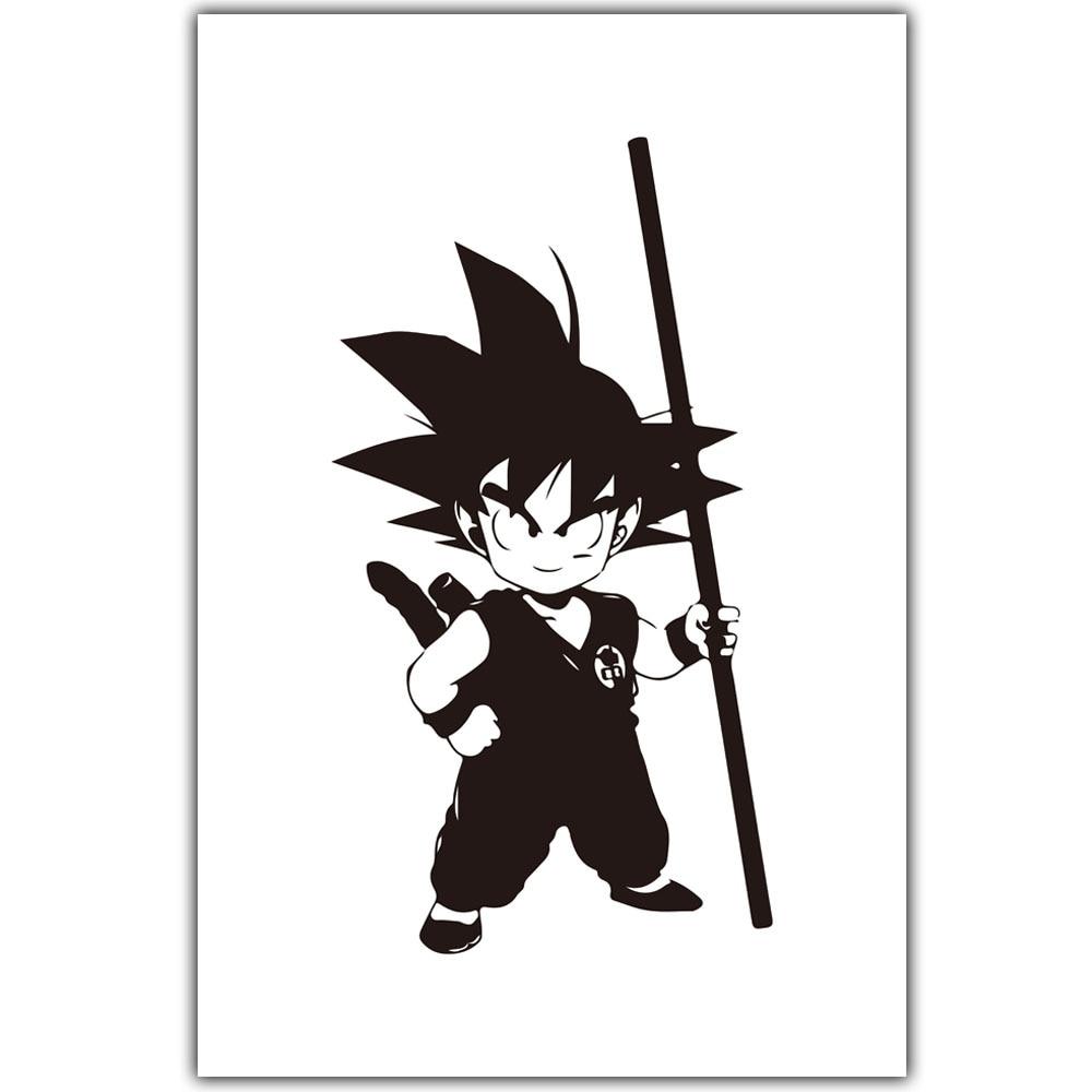 Gambar Dragon Ball Son Goku Lucu Hitam Putih Kartun Art Poster Di