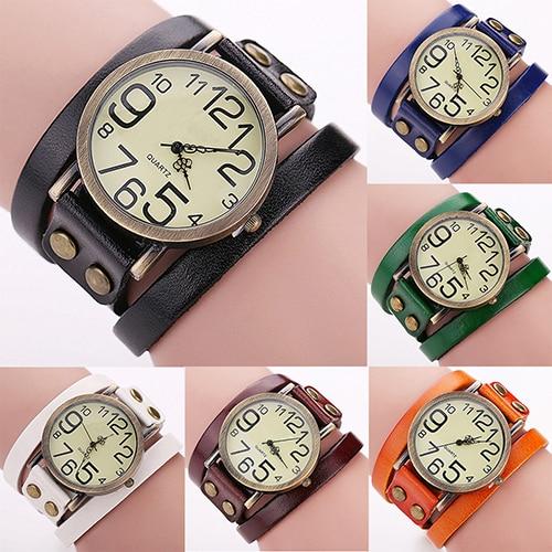 Women Men Retro Punk Rock Faux Leather Winding Bracelet Wrist Watch Jewelry
