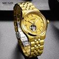 MEGIR мужские роскошные деловые Золотые механические часы из нержавеющей стали армейские водонепроницаемые наручные часы Топ бренд часы ...