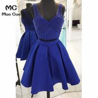 2018 Navy Blue Homecoming dress with Pearls Zipper Back Two Pieces Gown Cocktail party dress Above Knee Short homecoming dress