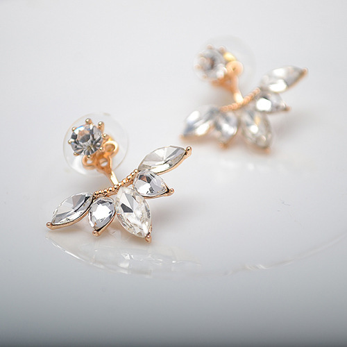 Gold And Silver Plated Leave Crystal Stud Earrings