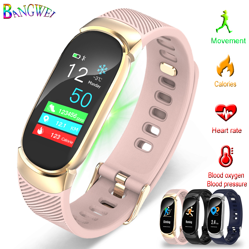 BANGWEI Bluetooth Waterproof Smart Watch Fashion Women Ladies Heart Rate Smartwatch Relogio inteligente For Android IOS reloj