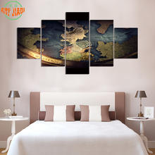 4 Piece or 5 Piece/set Canvas Art Map-of-Westero Game of Thrones Canvas Paintings Decoration For Home Wall Art Prints Canvas B76(China)