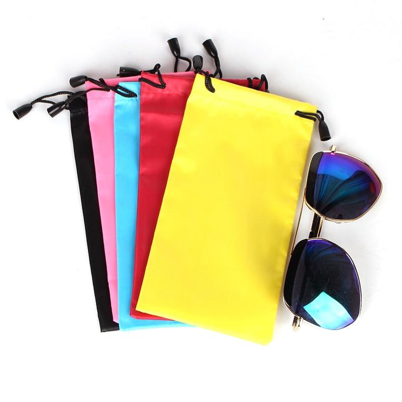 5 Color New High Quality Drawstring Sunglass Bag Sunglasses Eyeglasses Pouch Fabric Smooth Surface Soft Glasses Bag