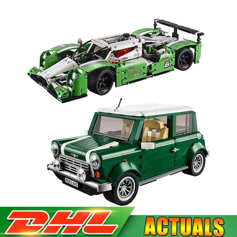 Lepin 21002 Mini Cooper +20003 24 Hours Race Car Model Building Blocks Bricks Kids Toys Gifts Compatible LegoINGLY 10242 42039 yile creator expert mini cooper model building kit blocks bricks compatible 10242 technic car toys for children gifts