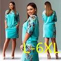 5XL 6XL Большой Размер 2016 Лето Dress Большой Размер Печатных Dress Синий Красный Желтый Прямые Платья Плюс Размер Женской Одежды Vestidos