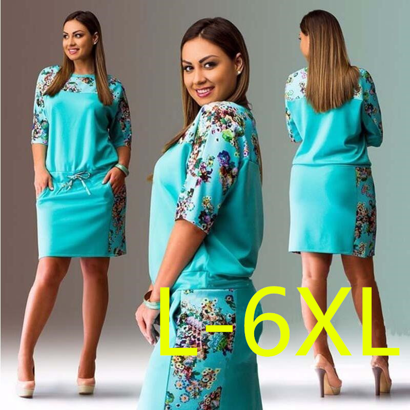 5XL 6XL Large Size 2019 Summer Dress Big Size Print Dress Blue Red Yellow Straight Dresses Plus Size Women Clothing Vestidos