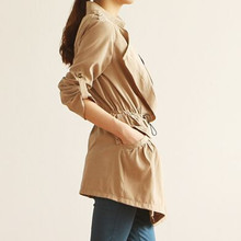 Spring Trench Coat 2017 Women Casual Single Breasted Slim Coat Plus Size Turn-down Collar Solid Trench Adjustable Waist Outwear