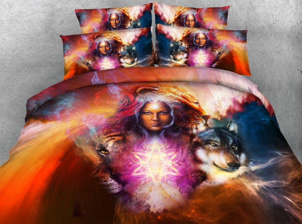 Solar Hot Sale 3d Animal Desert Wolf Bedding Set Bedlinen Set Duvet Cover Set 100%cotton Bedding Sets Home Textiles Childrens Gift Pure White And Translucent