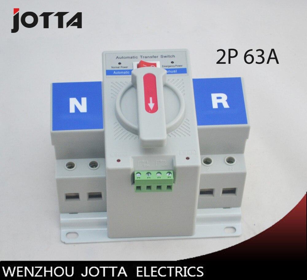 2 p 63A 230 v MCB type couleur blanche Double Puissance commutateur de transfert Automatique ATS tension Nominale 220 v/ 380 v fréquence Nominale 50/60 hz