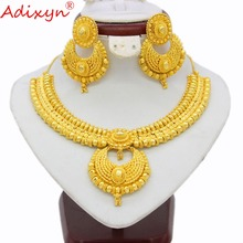 Adixyn Trendy 45cm Chokers Necklace/Earring Sets For Women Gold Color Engagement Arab/Ethiopian/Middle East Party Gifts N03147 цены онлайн