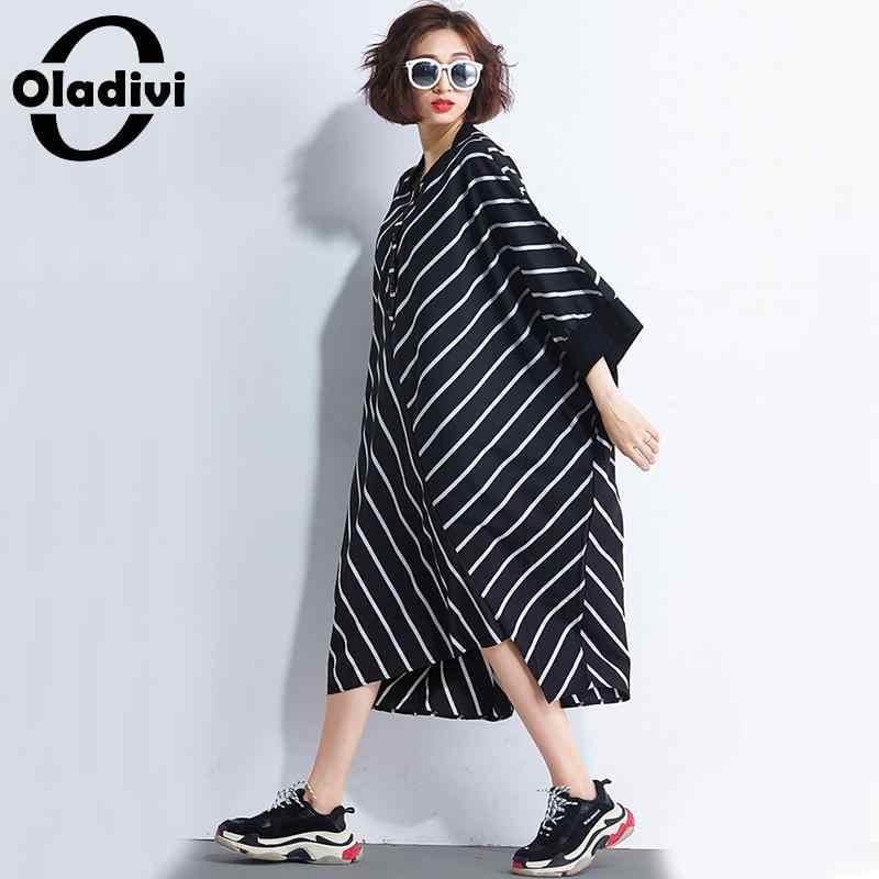 Oladivi/Брендовое платье-рубашка в полоску больших размеров, женские повседневные свободные платья-туники, длинные топы, футболки, Vestidios 10XL 9XL