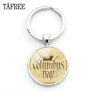 Lowest Price TAFREE Classic Vintage Columbus Day Keychains U.S.A  Holiday Art Pattern Pendants Keychain Keyring Keepsake Jewelry CO48 — bequmcmvl