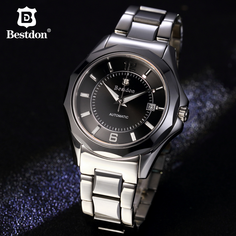 Bestdon Clock Men Automatic Mechanical Watches Brand Luxury HQ Tungsten Steel Mens Watch Business Wristwatch Relogio Masculino opk punk cross bracelet for men length 16 5 21 cm mesh strap band stainless steel black gold color male wrap bracelets gh878