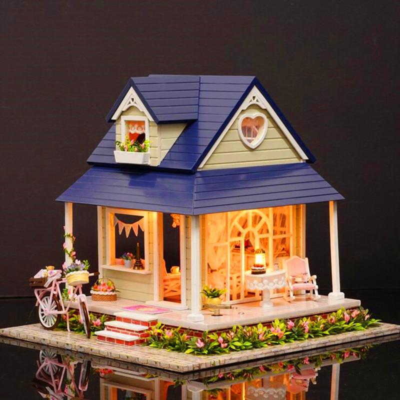 CuteRoom DIY Handgemachte Holz Puppenhaus Miniatur Mit Haus Möbel Spielzeug  Geschenk Für Kinder Fahrrad Winkel Kit Geschenk Für Kinder