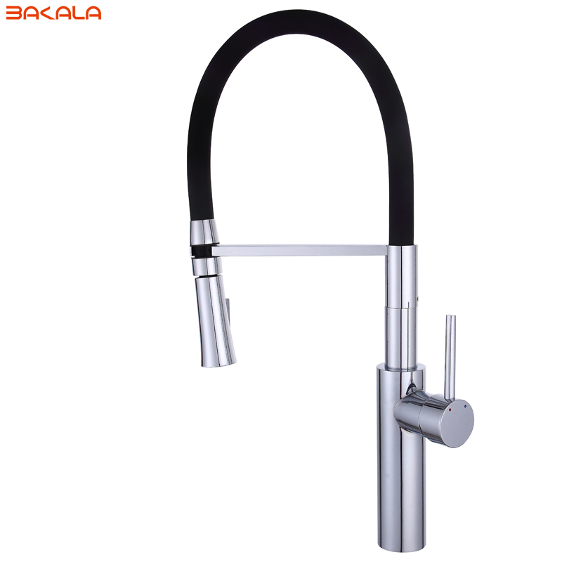 BAKALA Hot Sale Pull Out Spring Kitchen Faucet Brass Vessel Sink Mixer Tap Sprayer Swivel Spout Mixer Tap BR-9203 spring pull out kitchen sprayer faucet brass material modern chrome double faucet design hot and cold wash basin sink mixer tap