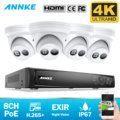 ANÃO 8CH 4K Ultra HD Sistema De Segurança De Vídeo de Rede POE 8MP H.265 + NVR Com 4pcs 8MP À Prova de Intempéries IP Suporte para Câmera 128G TF Cartão