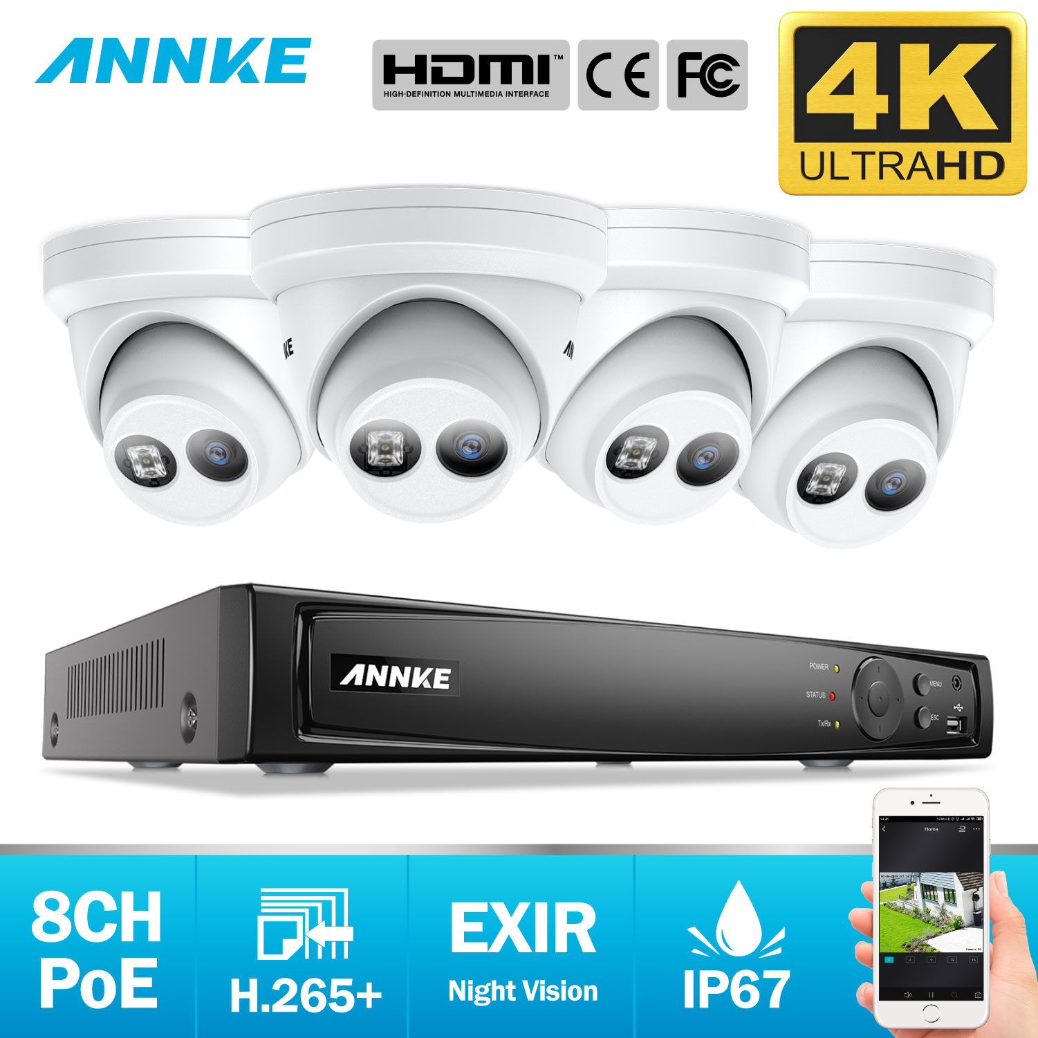 ANNKE 8CH 4K Ultra HD POE Network Video Security System 8MP H.265+ NVR With 4pcs 8MP Weatherproof IP Camera Support 128G TF Card