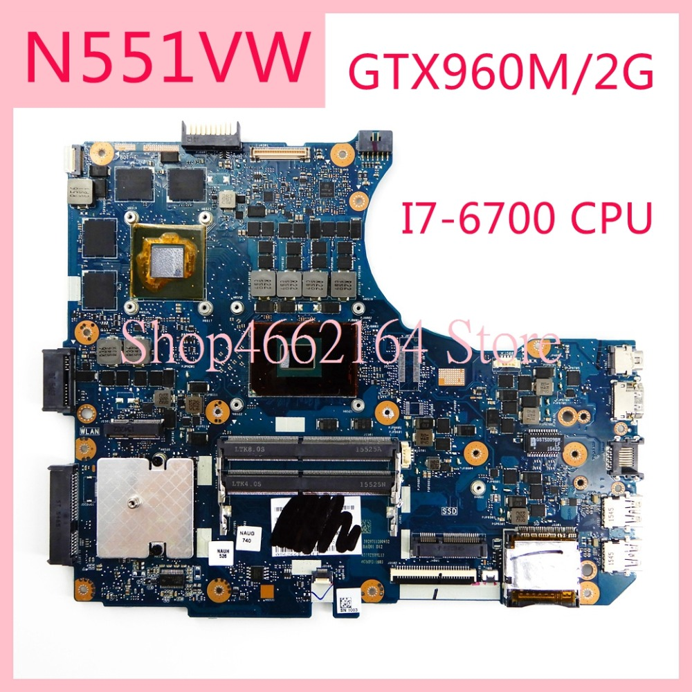 N551VW notebook motherboard I7-6700CPU GTX960M/2G For <font><b>ASUS</b></font> N551 <font><b>N551V</b></font> N551VW G551 G551V G551VW FX551V FX51VW Laptop mainboard image