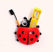 Lovely Ladybug Toothbrush Wall Suction Bathroom Sets Cartoon Sucker Toothbrush Holder / Suction Hooks