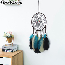 OurWarm Wind Chimes Indian Dream Catcher With Feathers Wall Hanging Dreamcatcher Craft Gift Home Decoration 45cm Size