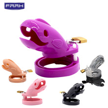 FRRK Sex Shop New Male Chastity Cock Cages Sex Toys For Men Penis Belt Lock With five Penis Rings  Cage Gay Device Chastity Lock все цены