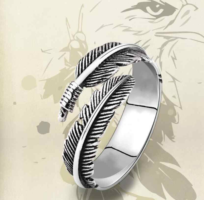 New Retro Fashion Unisex's Mens Punk Biker Titanium Steel Black Silver Leaf  Ring fashion jewelry opened Adjustable sizes