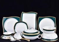 Bone china Western style tableware porcelain plates bowls gilt trim dinnerware square plates sets luxury gifts