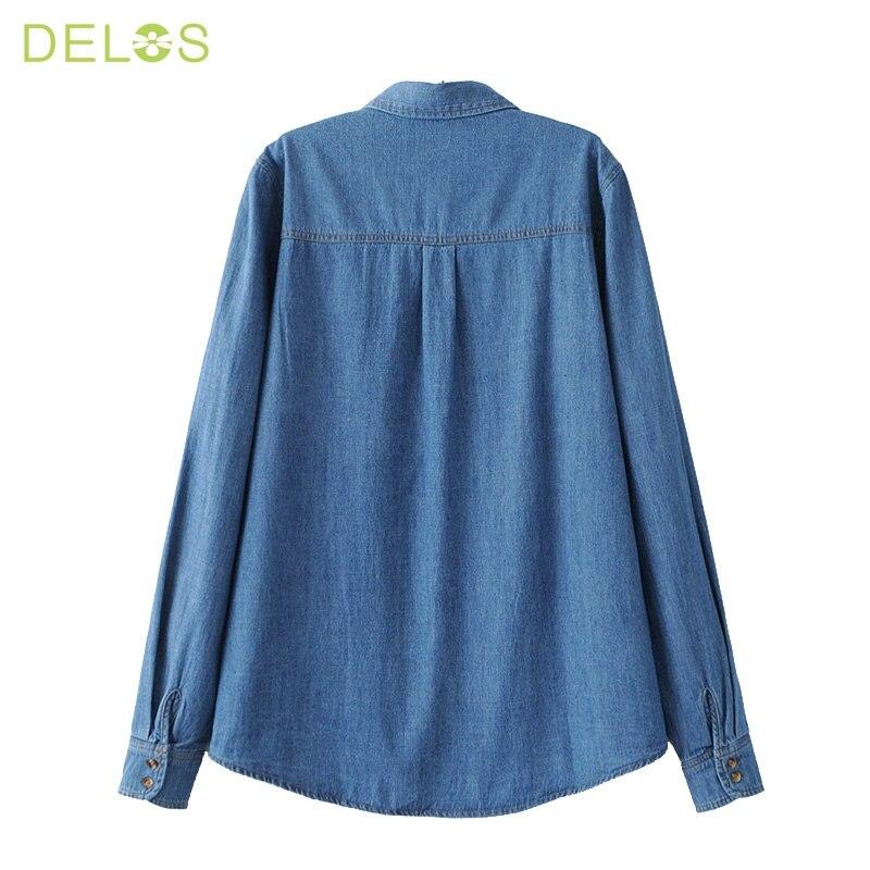 bba2cc6671 NINFA Mujeres Mezclilla Camisa Chemise Femme de Jean Pantalones Vaqueros  Bordados de Flores de La Blusa de Manga Larga Blusa Ocasional Tops Camisa  Vetements ...
