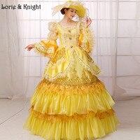 Hoàng hậu Marie Antoinette Lấy Cảm Hứng Từ Trang Phục Sân Khấu Trưởng Thành Nàng Công Chúa Pageant Dress Masquerade Bóng Gown VÀNG