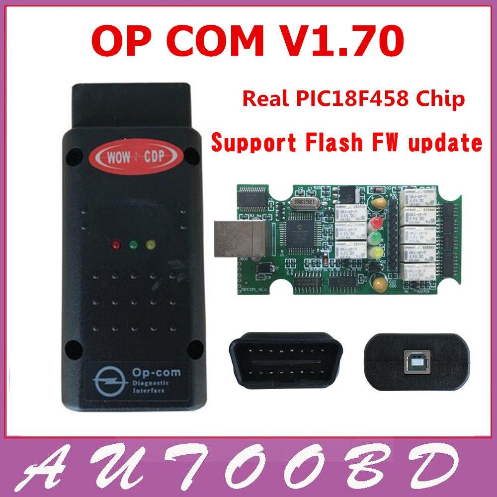 Prix pour Nouveau!! OP Com V1.70 avec PIC18F458 Puce Auto Diagnostic Interface OPCom obd2 pour Opel V1.70 Opel Op-com Soutien Flash Mise À Jour FIRMWARE pour